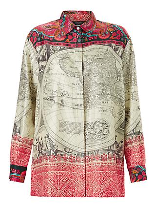 Weekend MaxMara Cadice Silk Printed Blouse, Ivory/Multi
