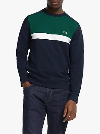 Lacoste Colour Block Cotton Fleece Sweatshirt, Navy Blue/Forest Green/White