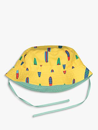 Polarn O. Pyret Children's Surfboard Print Reversible Hat, Yellow