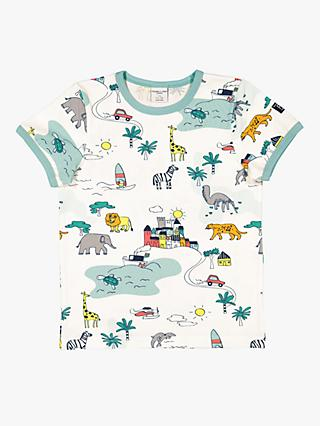 Polarn O. Pyret Children's Safari T-Shirt, White