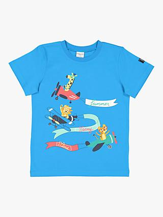 Polarn O. Pyret Children's Plane Graphic T-Shirt, Blue