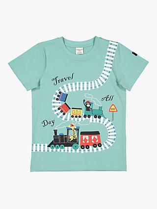 Polarn O. Pyret Children's Train Track T-Shirt, Aqua
