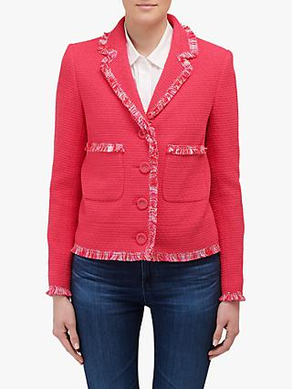 Helene For Denim Wardrobe Ava Fringe Detail Jacket, Fuchsia