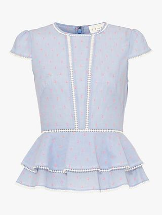 Damsel in a Dress Elmira Dot Detail Blouse, Blue/Pink