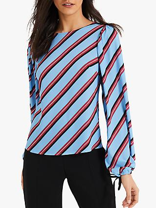 Damsel in a Dress Donata Stripe Blouse, Blue/Multi