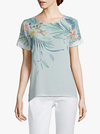 Betty & Co. Floral and Stripe Print Top, Blue