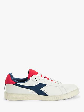 Diadora Game L Low Used Trainers, White/Blue Dark Denim