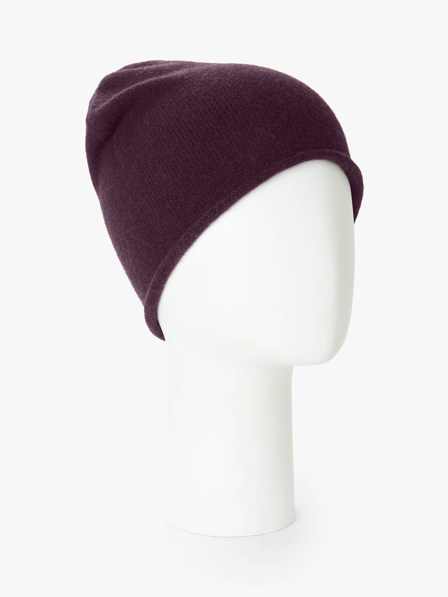 Buy John Lewis & Partners Cashmere Roll Beanie, Wine Online at johnlewis.com