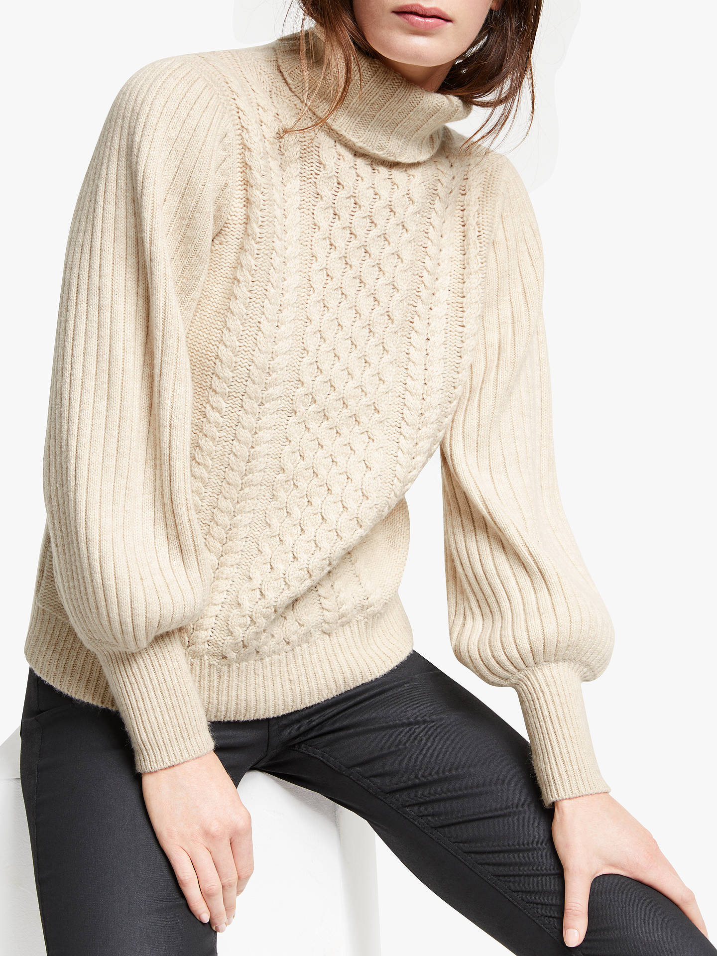 Somerset By Alice Temperley Chunky Roll Neck Jumper, Neutral by Somerset By Alice Temperley