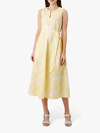 Hobbs Deborah Linen Dress, Yellow/White
