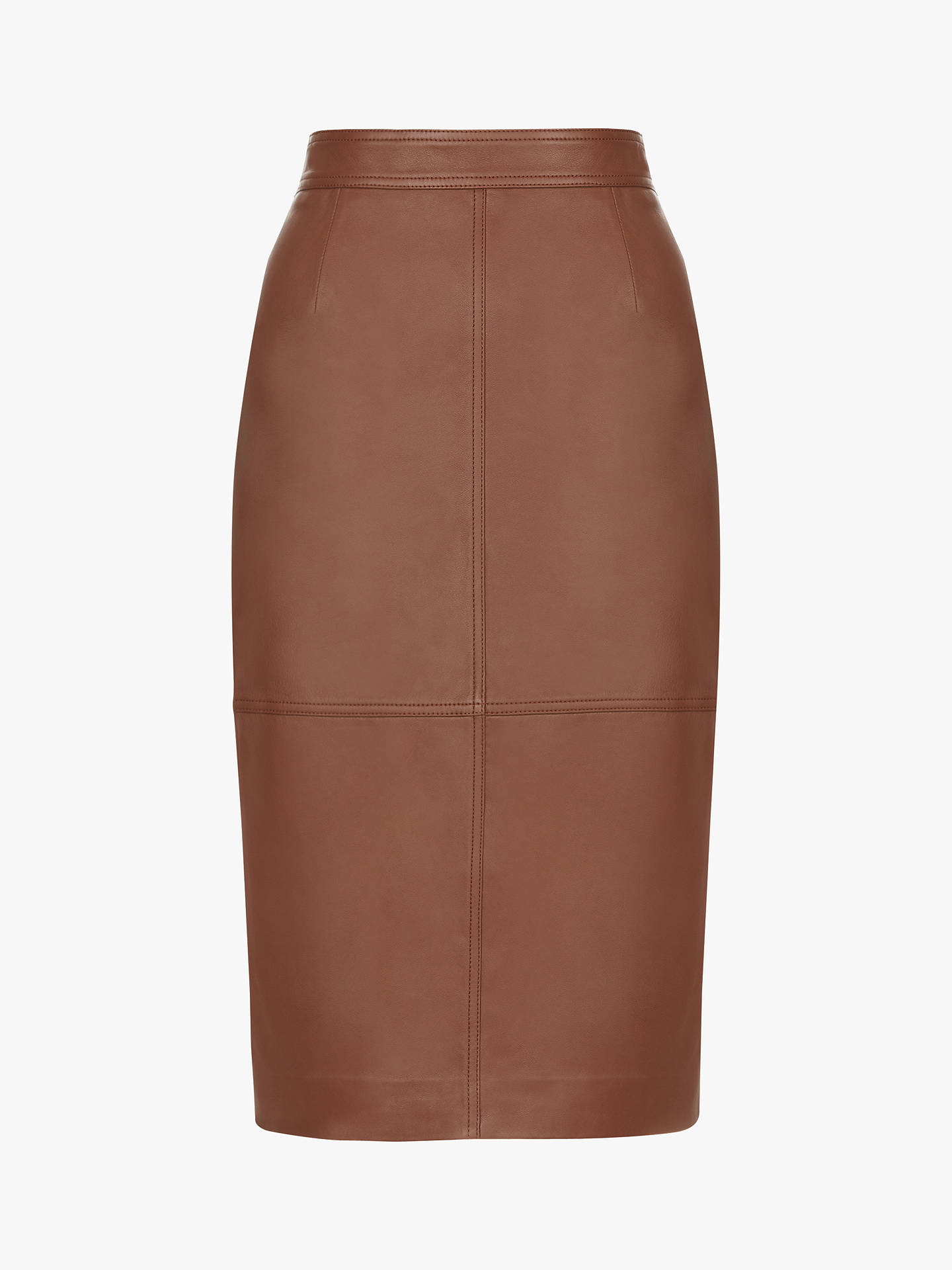 Buy Hobbs Thea Leather Skirt, Tan, 8 Online at johnlewis.com