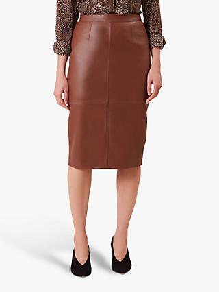 Hobbs Thea Leather Skirt, Tan