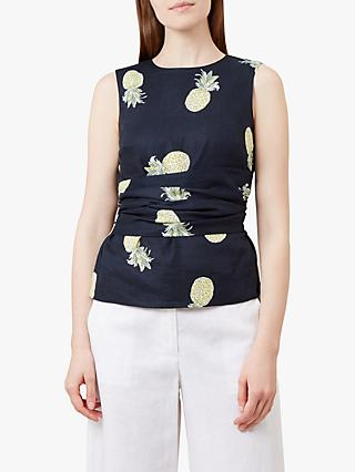 Hobbs Anika Linen Top, Navy/Multi