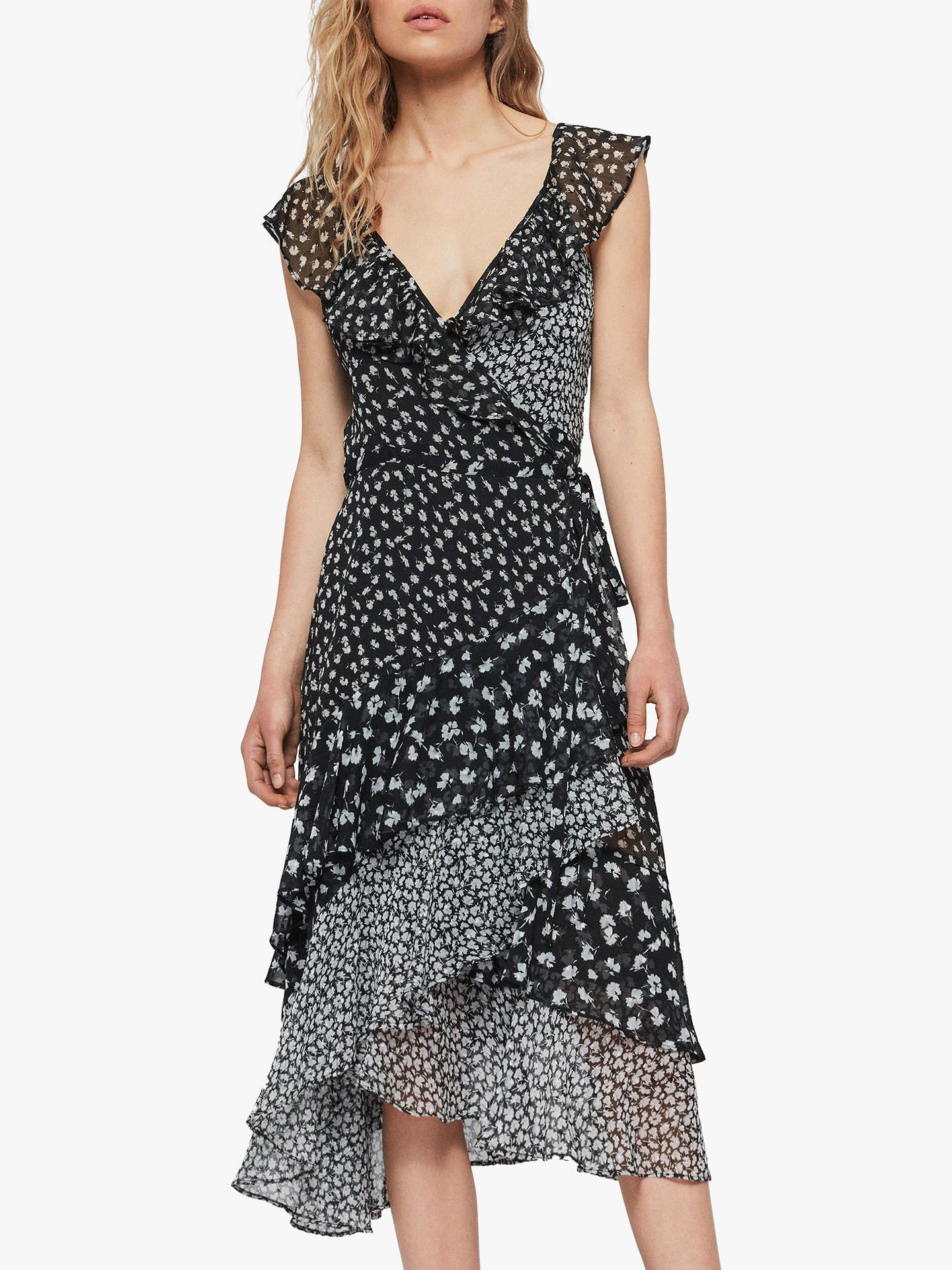 f55235de7dd58 Buy AllSaints Kari Scatter Floral Dress, Black, XS Online at johnlewis.com  ...
