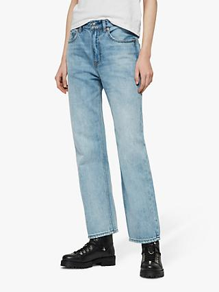 AllSaints Gem High Waist Boyfriend Jeans, Light Indigo Blue