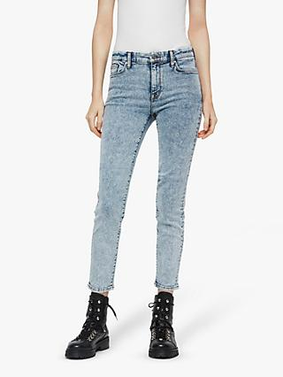 AllSaints Grace Mid-Rise Cropped Skinny Jeans, Acid Washed Indigo
