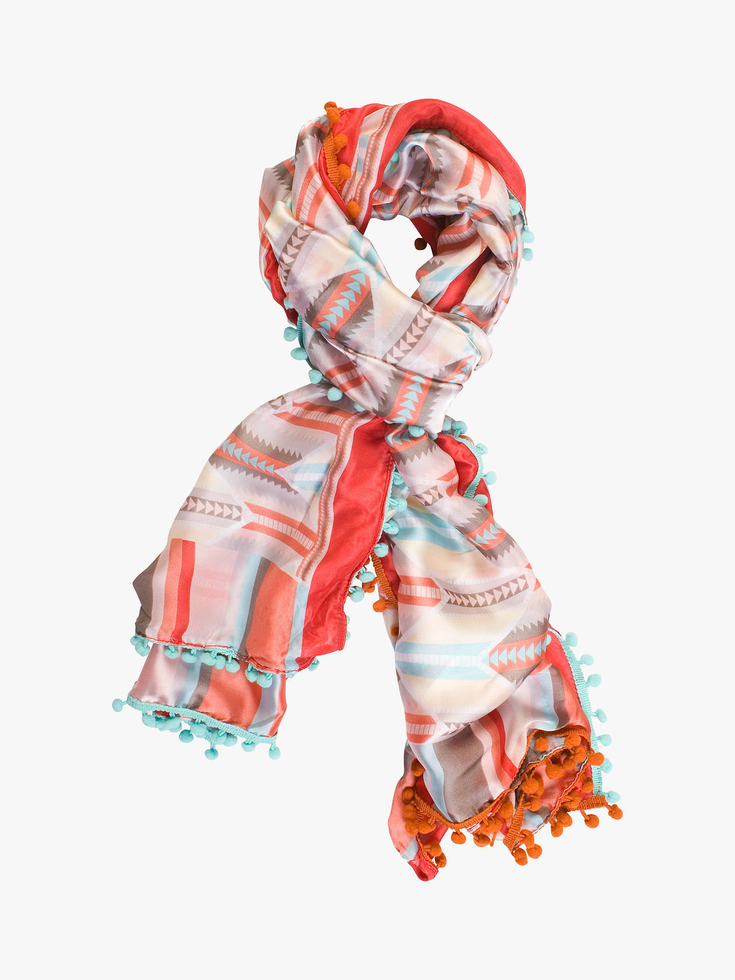 Buy chesca Floral Aztec Print Pom Pom Trim Scarf, Red, One Size Online at johnlewis.com