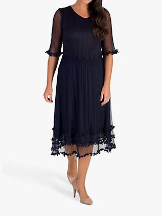 7392e29903d2 chesca Sheer Daisy Trim Dress