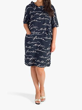 chesca Cowl Neck Scribble Print Linen Dress, Navy/White
