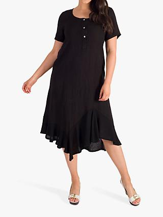 Chesca Scoop Neck Linen Dress, Black