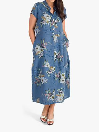 Chesca Japanese Floral Linen Dress, Blue