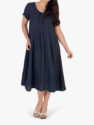 chesca Pintuck Detail Linen Dress, Navy