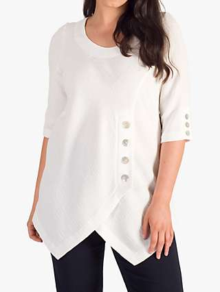 Chesca Button Detail Crinkle Tunic Top, Ivory