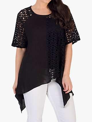 Chesca Scoop Neck Linen Lace Top, Black
