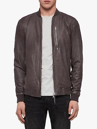 AllSaints Kino Leather Bomber Jacket, Atlantic Grey at John