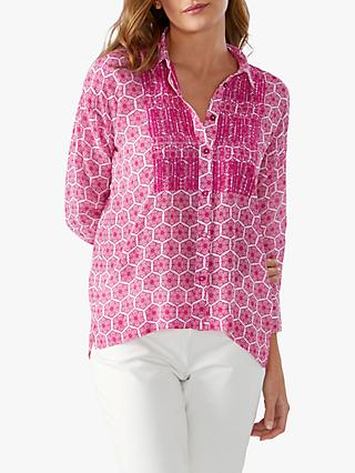 Pure Collection Embroidered Blouse, Bright Pink Tile