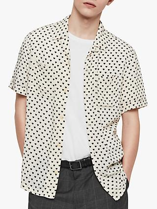 ef1c1221 AllSaints Valentine Heart Short Sleeve Shirt, Ecru White/Black