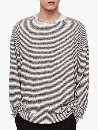 0f35dd4b3ef AllSaints Sine Long Sleeve Cotton Linen Crew T-Shirt, Ecru/Ink Navy
