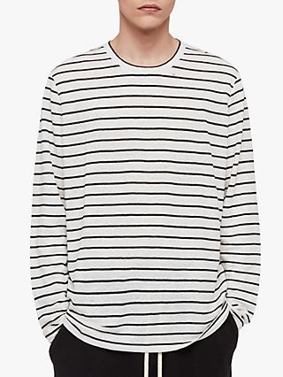 AllSaints Ludo Stripe Long Sleeve T-Shirt, White/Black