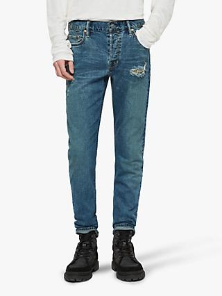 AllSaints Rex Damaged Slim Jeans, Indigo Blue