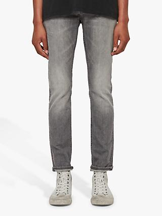 AllSaints Rex Damaged Skinny Jeans, Grey