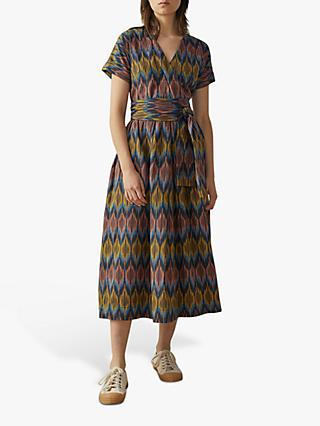 Toast Ikat Cotton Dress, Navy/Multi