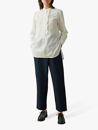 Toast Seersucker Cotton Ruffle Shirt, Chalk White