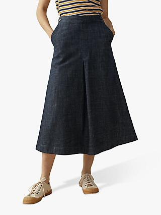 Toast Denim Side Button Skirt, Indigo