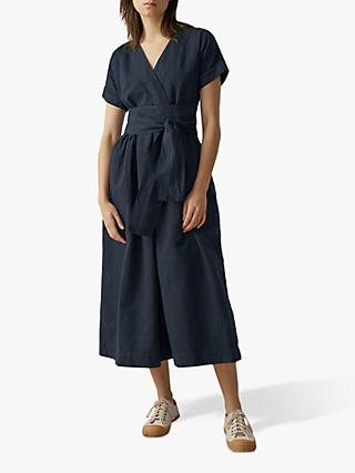 Toast Cotton-Linen Wrap Front Dress, Slate Blue