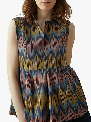 Toast Ikat Sleeveless Pleat Front Top, Indigo
