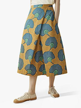 e9ac78645 Toast Ginko Print Cotton Skirt, Ochre