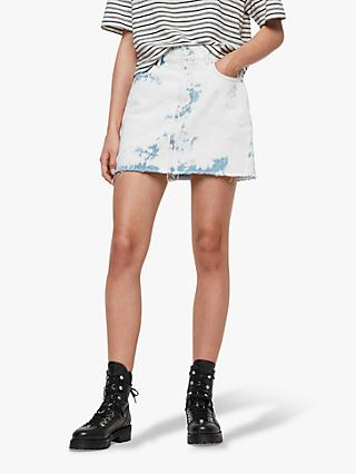 AllSaints Lexi Bleach Denim Skirt, White/Blue