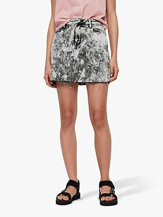 AllSaints Trudy Mini Denim Skirt, Acid Washed Black