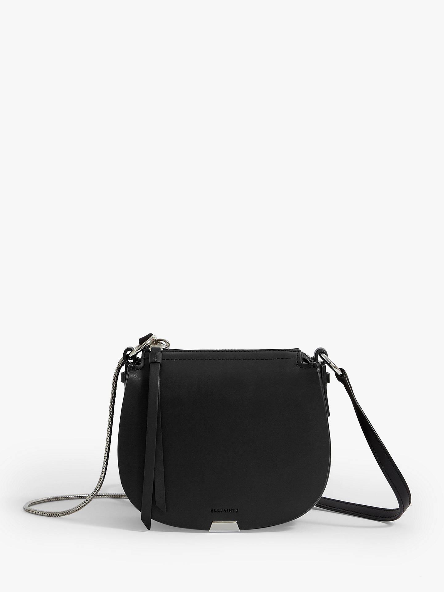 online store nice shoes temperament shoes AllSaints Captain Mini Round Leather Cross Body Bag, Black