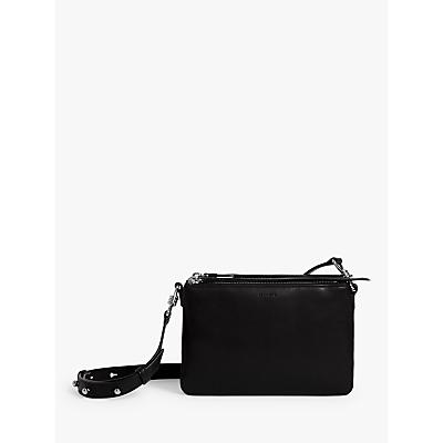 Image of AllSaints Captain Leather Zip Cross Body Bag, Black