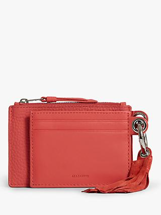 AllSaints Dive Card Holder Key Fob, Coral Pink