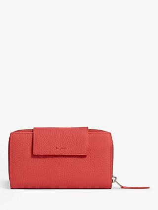 AllSaints Captain Leather Wallet, Coral Pink