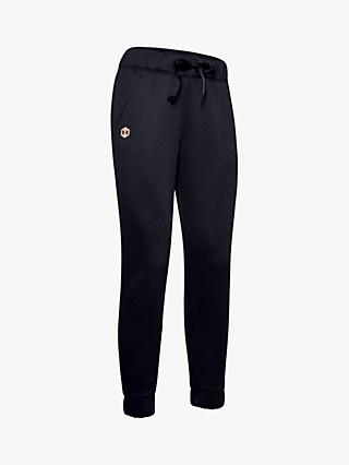 Under Armour Athlete Recovery Fleece Joggers, Black/Blush Beige