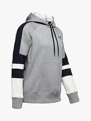 Under Armour Rival Fleece LC Logo Novelty Hoodie, Steel/Black
