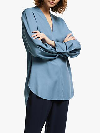 Modern Rarity V-Neck Twill Top, Blue